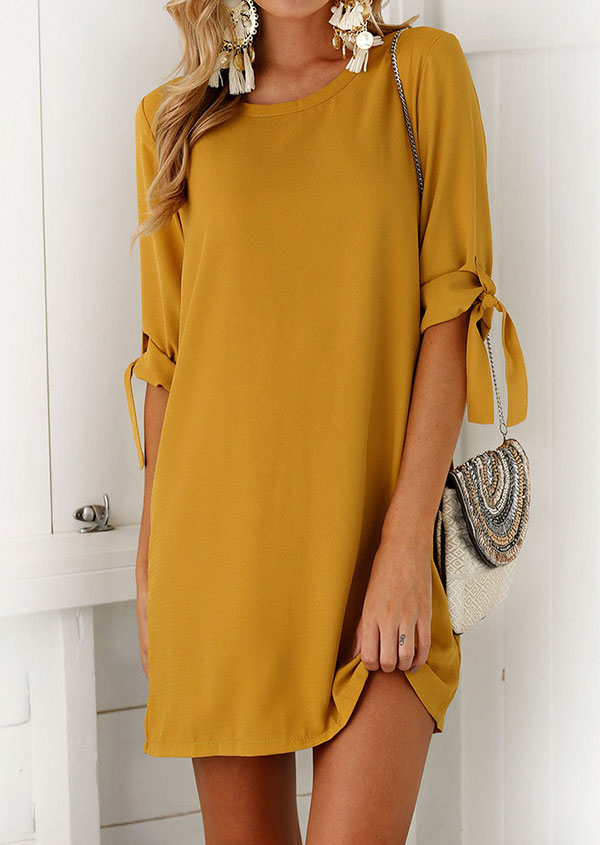Solid O-Neck Casual Dress