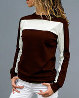 Round Neck Colorblock Insert Long Sleeve T-shirt