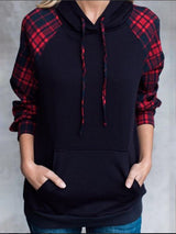 Red Gingham Pockets Simple & Basic Pullover Jumper Hoodies