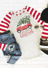 Merry Christmas Striped Car Baseball T-Shirt