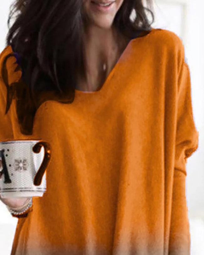Gradient Color Long Sleeve Pocket Casual Blouse