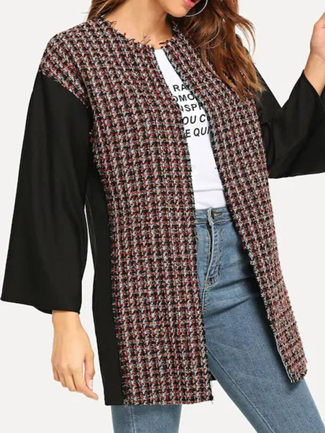 Fashion Splice Grid Casual Coat
