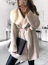 Solid Color Irregular Casual Lapel Coat