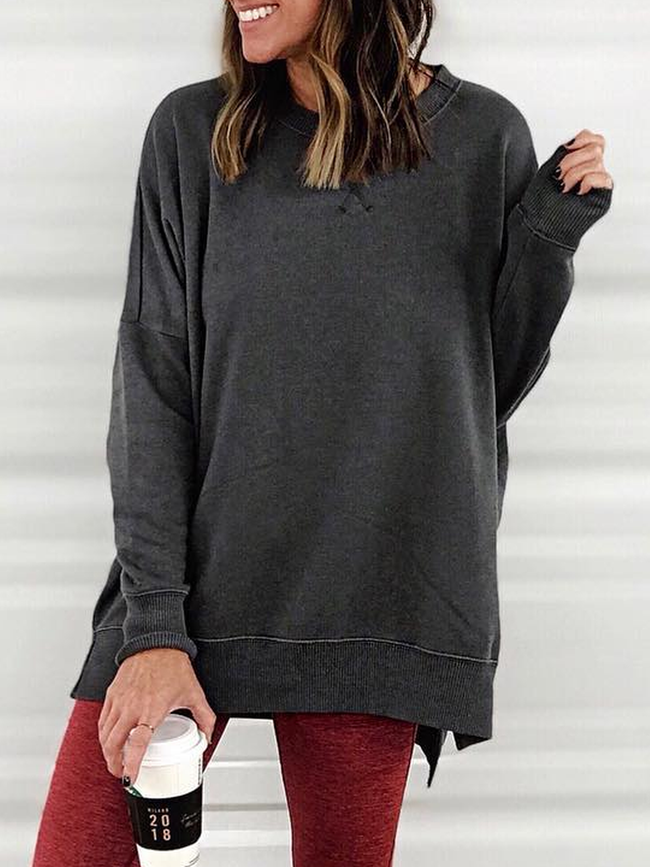Crew Neck Solid Long Sleeve Shirts & Tops