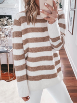 Crew Neck Long Sleeve Striped Knitted Sweater