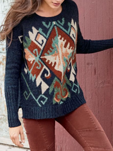 Crew Neck Long Sleeve Printed Sweater