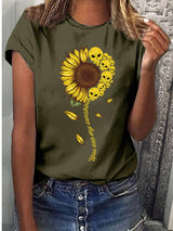 Woman Cotton Short Sleeve Crew Neck Plant Shirts & Tops