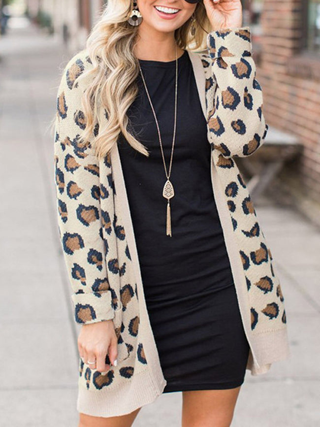 Leopard Printed Knitted Cardigan Coat