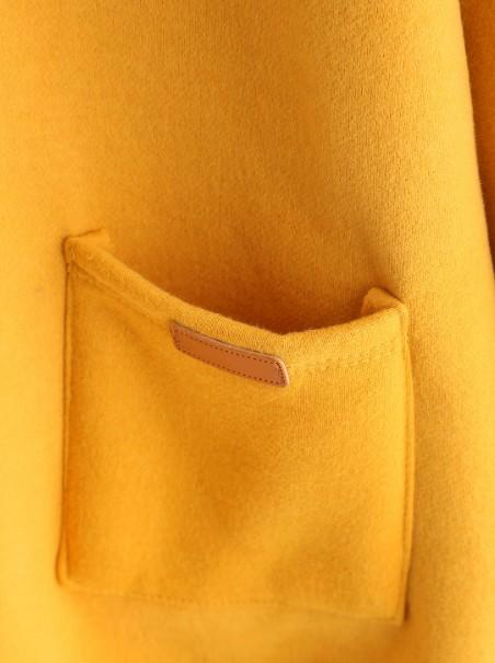 Yellow Long Sleeve Plain Crew Neck Cotton Tops