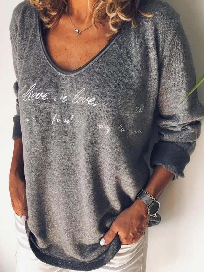 Mid-Length V-Neck Long Sleeve Loose Casual T-Shirt