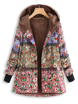 Floral-Print Buttoned Hoodie Coat
