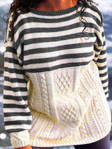 Knitted Paneled Crew Neck Cotton Casual Sweater