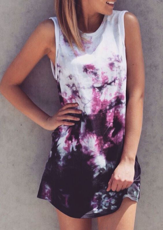 Printed O-Neck Sleeveless Casual Dress
