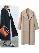 Long Sleeve Pockets Lapel Coat