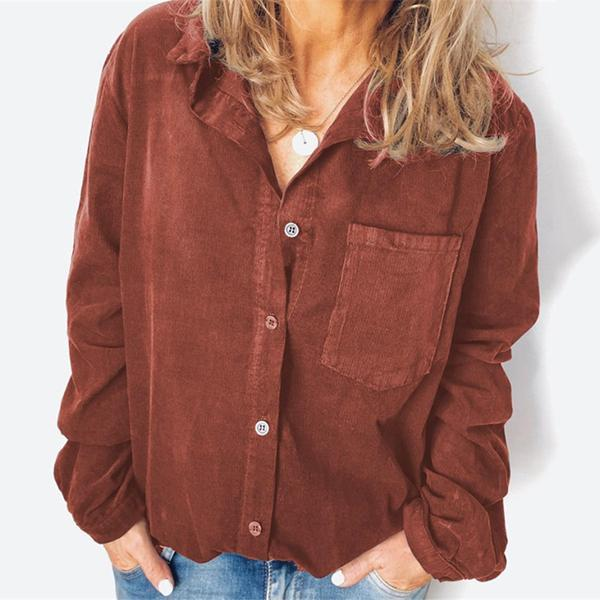 Solid Color LongSleeve Buttons Blouses