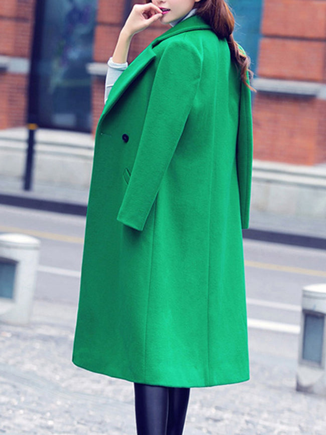Lapel Knee Length Long Sleeve Coat