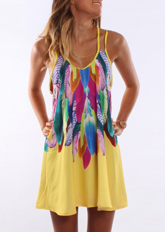 Feather Printed Sleeveless Dress