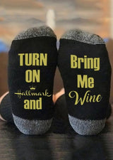 Turn On Hallmark And Bring Me Wine Socks