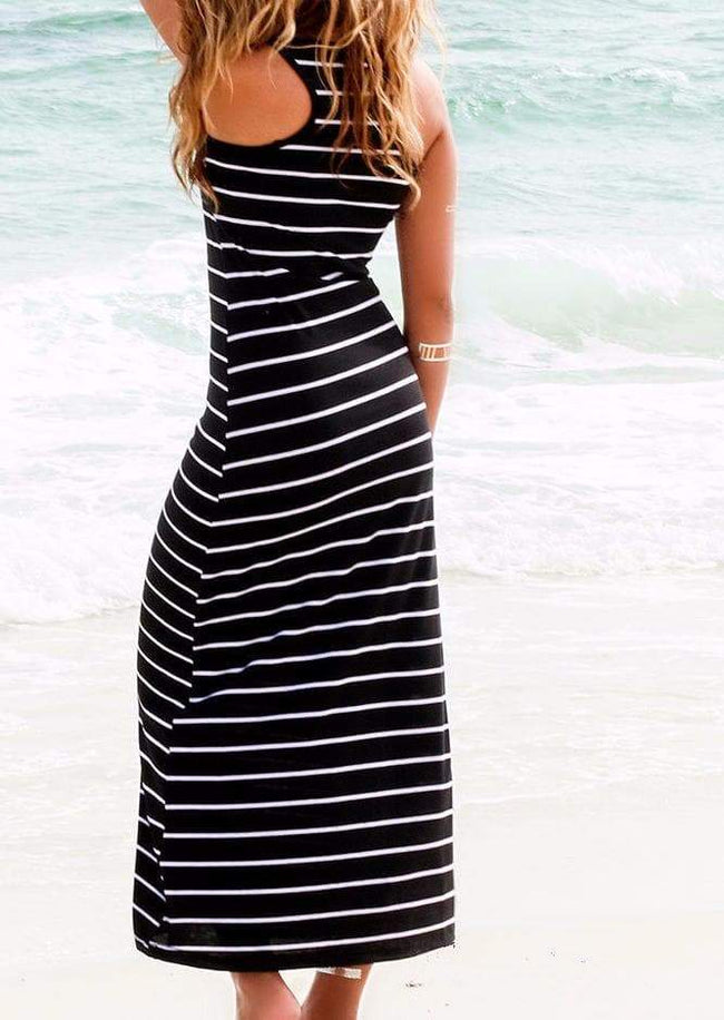 Striped Casual Maxi Dress