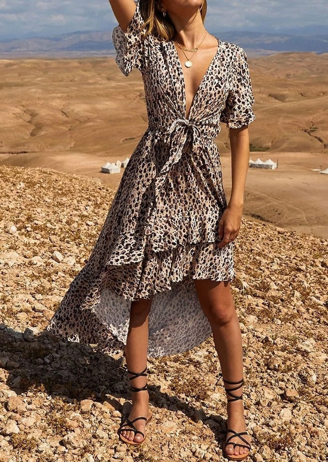 Leopard Printed Asymmetric Maxi Dress