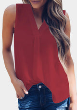 Solid V-Neck Casual Tank