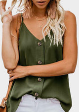 Solid Button V-Neck Camisole