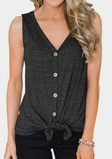 Solid Button Tie V-Neck Tank