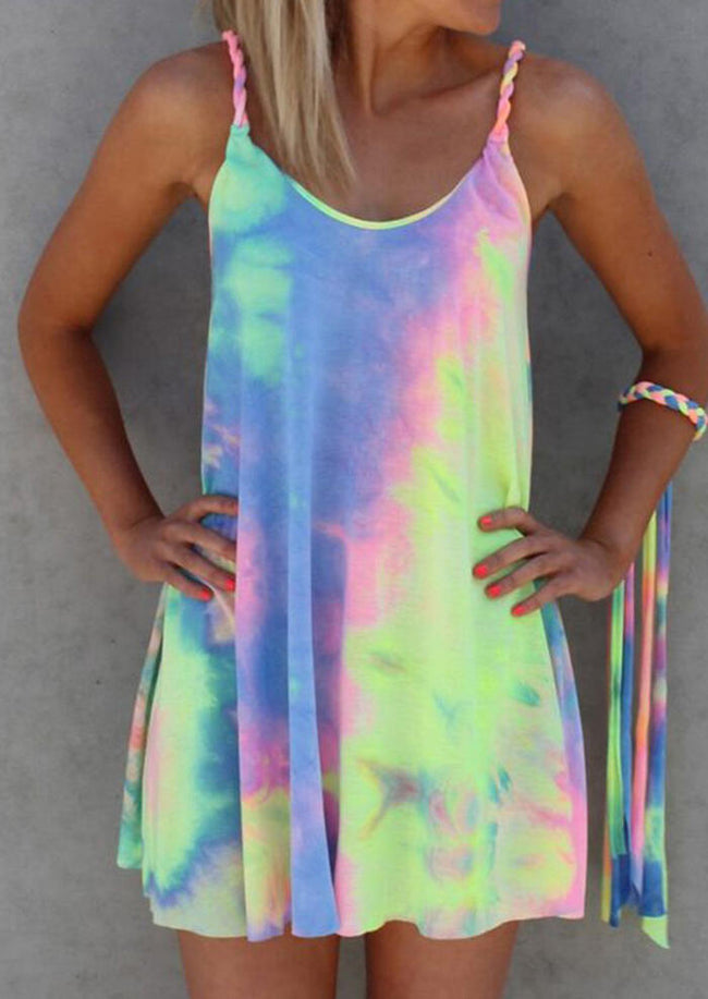 Tie Dye Twist Strap Mini Dress