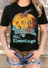 Fall Blessings Pumpkin T-Shirt Tee - Black
