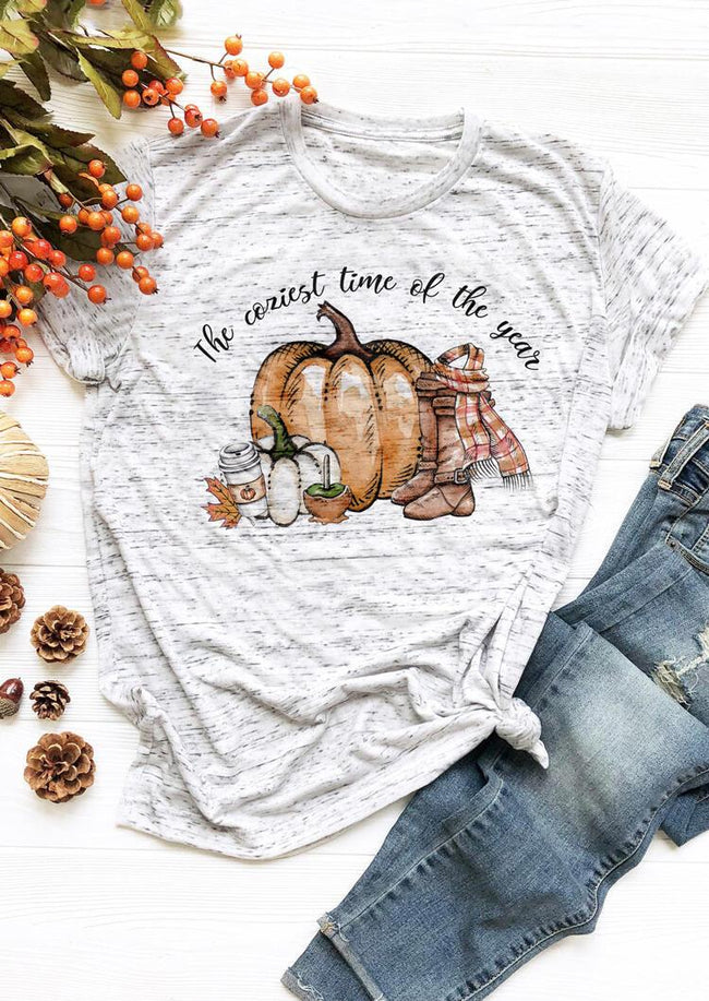 Pumpkin The Coziest Time of The Year T-Shirt Tee - Light Grey