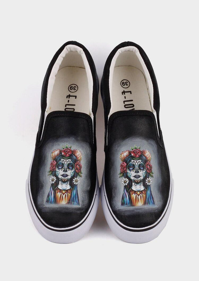 Halloween Skull Witch Hand-Painted Sneakers - Black