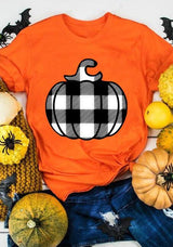 Halloween Plaid Pumpkin O-Neck T-Shirt Tee - Orange