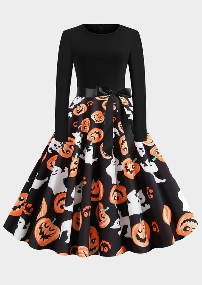 Halloween Pumpkin Face Long Sleeve Party Dress - Black