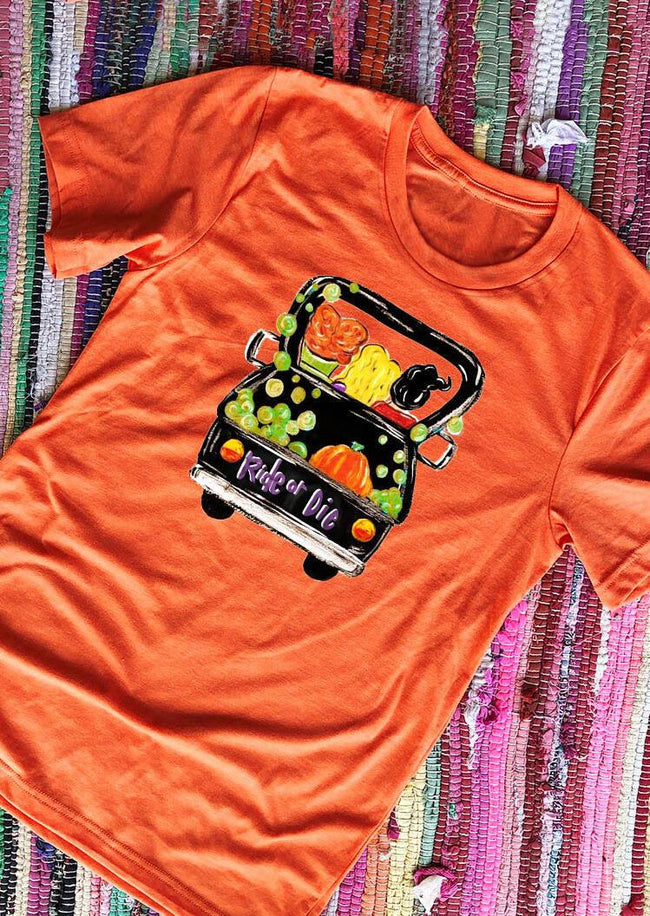 Halloween Pumpkin Ride Or Die T-Shirt Tee - Orange