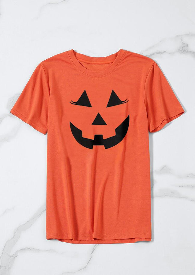 Halloween Pumpkin Smile Face T-Shirt Tee - Orange