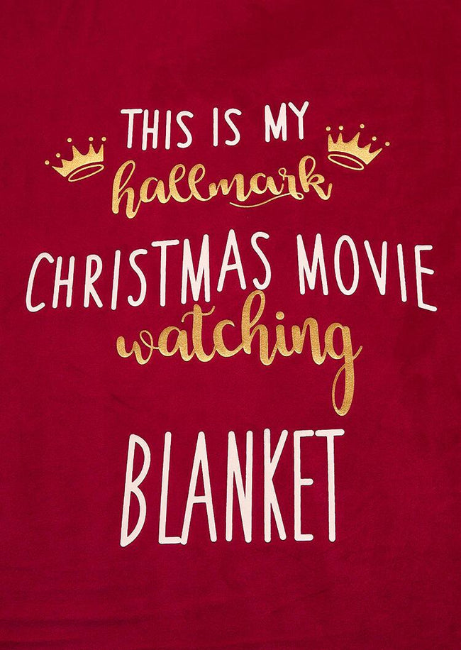 Thicken Velvet Warm My Hallmark Christmas Movie Watching Blanket - Burgundy