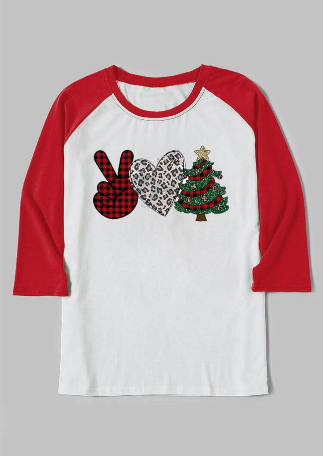 Victory Gesture Leopard Love Christmas Tree T-Shirt - Light Grey