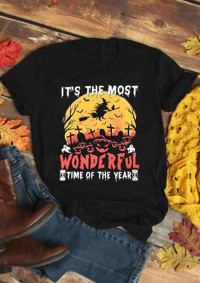 Halloween It's The Most Wonderful Time T-Shirt Tee - Black