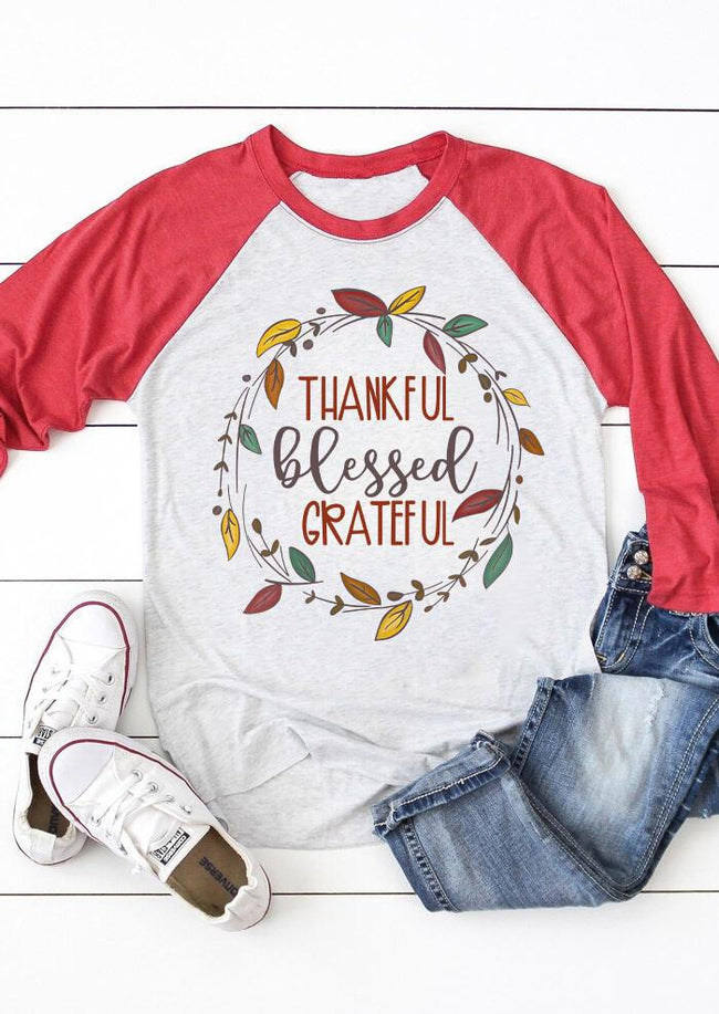 Thankful Blessed Grateful T-Shirt Tee - Gray