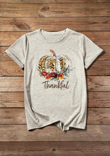 Thanksgiving Leopard Printed Pumpkin T-Shirt Tee - Beige