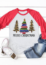 Leopard Printed Merry Christmas Trees T-Shirt Tee - Light Grey