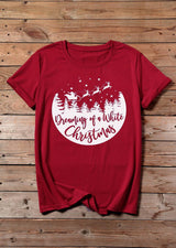 Dreaming Of A White Christmas T-Shirt Tee - Red