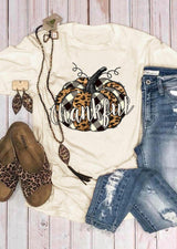 Plaid Leopard Printed Splicing Thankful Pumpkin T-Shirt Tee - Beige