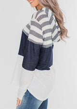 Striped Color Block Drawstring Hoodie - Blue