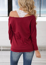 Thankful Heart Off Shoulder Blouse without Strap - Burgundy
