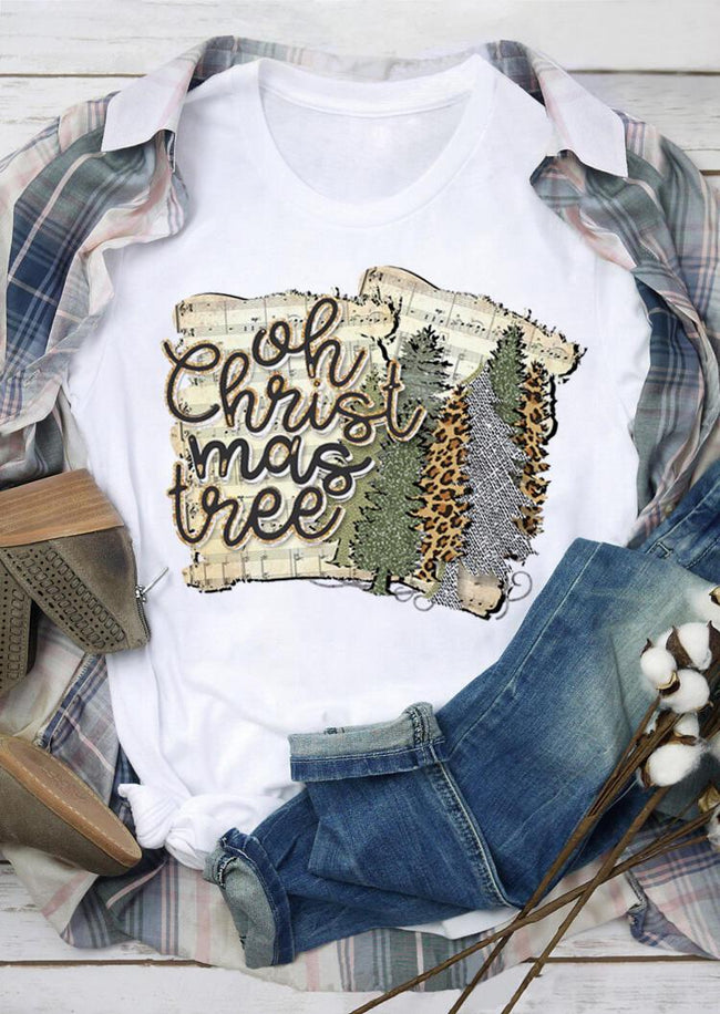 Leopard Printed Oh Christmas Tree T-Shirt Tee - White