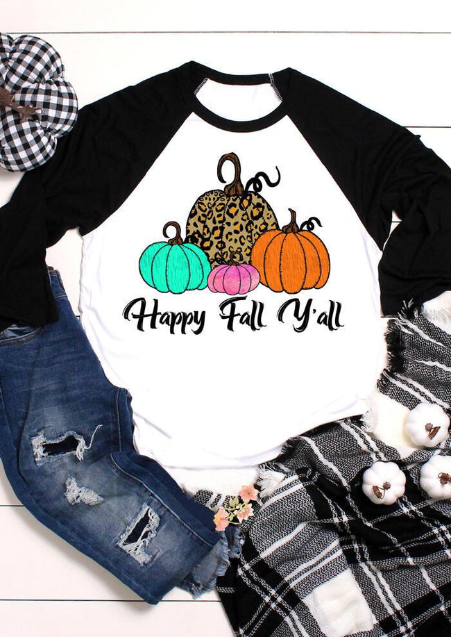 Leopard Printed Happy Fall Y'all Pumpkin T-Shirt Tee - White