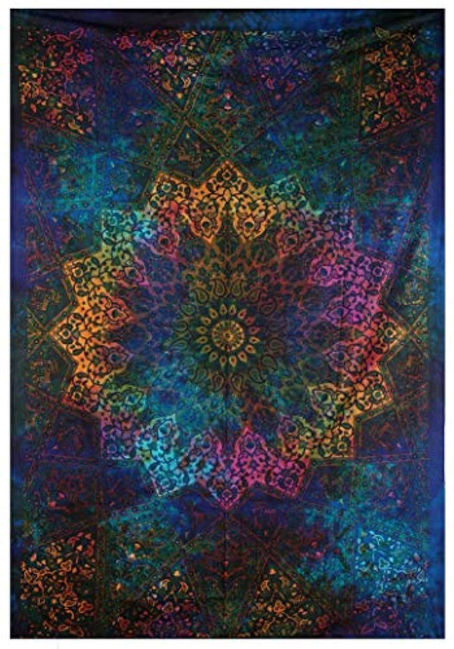 Tapestries Intricate Blue Tie Dye Star Design Indian Bedspread Twin Tapestry Hippie Wall Decor