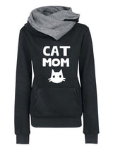 Letter-Printed Cat Mom Simple & Basic Hoodies