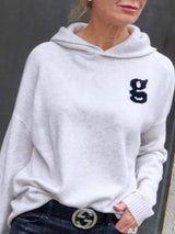 White Casual Hoodie Shirts & Tops